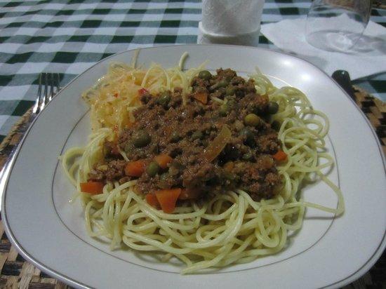 Banana Village: Delicious pasta bolognese prepared by the staff