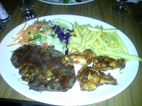 Desperados: Steak and wings... perfect!