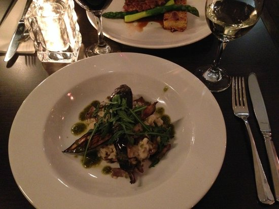 Van Harte : Forest mushroom risotto with orated eggplant and pesto of arugula and pistachios