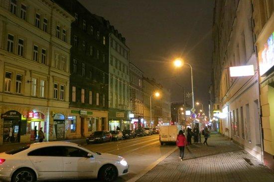 Tivoli Hotel Prague: Fairly non-descript street.