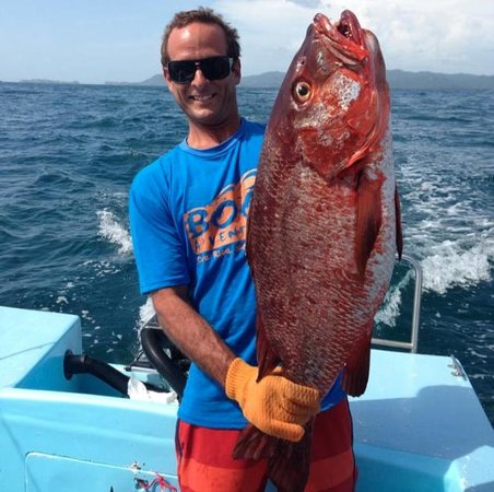 Captain Christian with a Big Red Snapper