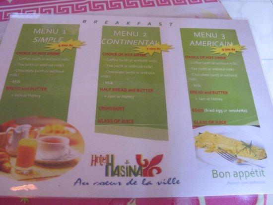 Hotel Hasina: Меню завтрака