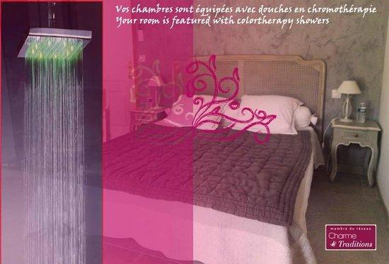 Relais de l'Alsou: room oriande with colortherapy shower