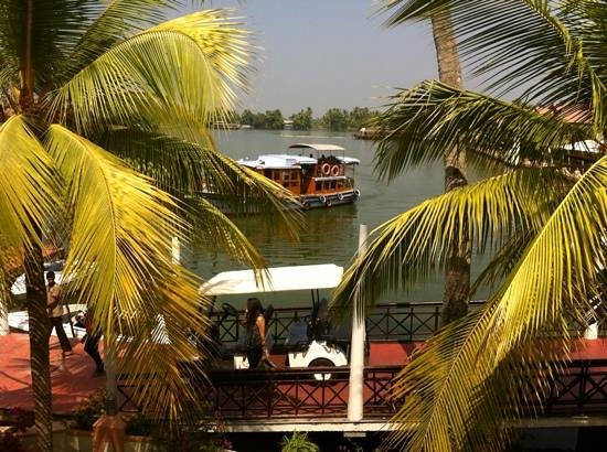 Lake Palace Resort: view from the bar; private boat shuttle to Alleppey