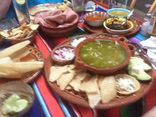 Villa Mexicana Hotel: posole soup and tamale