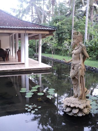 Jiwa Damai Organic Garden & Retreat : saraswati statue in the lotus pond