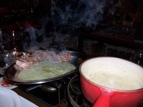 Cafe Bern: Steak in a herb butter sauce with fondue