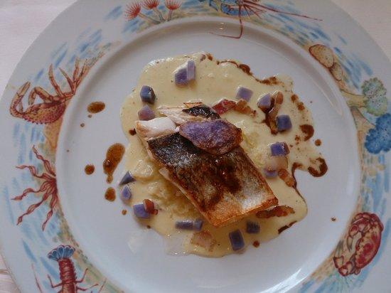 Loup de mer poêlé et la crème de choucroute aux lardons