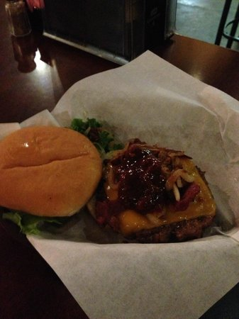 Iron Door Saloon and Grill: Burger with Bacon and Sauteed Onions