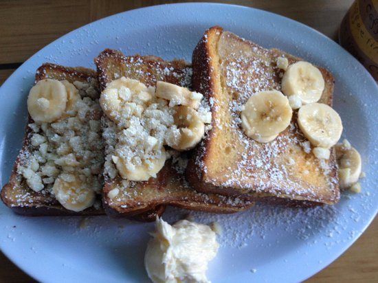 Kihei Caffe: French Toast with fresh bananas and macadamia nuts. Be sure to eat with Coconut syrup!