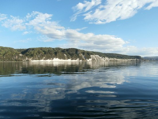 Chris Jolly Outdoors: White cliffs of Lake Taupo. Swam off the boat.