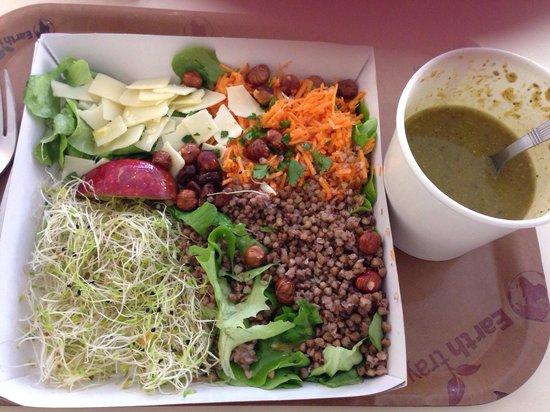 Le Bio d'Adam et Eve : Salade sans gluten au sarasin et soupe de légumes verts. Bio, frais, sain et équilibré!
