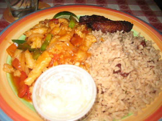 Star Island Restaurant: Caribbean Conch dish with plantains and rice and beans