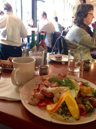 Plums Cafe: Interior of Plums, featuring Alderwood Smoked Salmon Hash