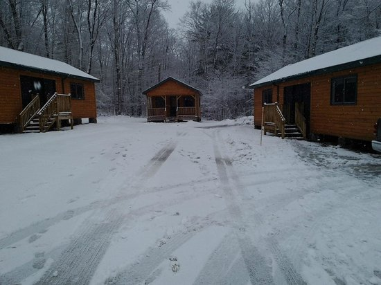 Allegany State Park Campground: 8 structures with 2 rooms connected by a breezeway and 2 single cabins with covered porch