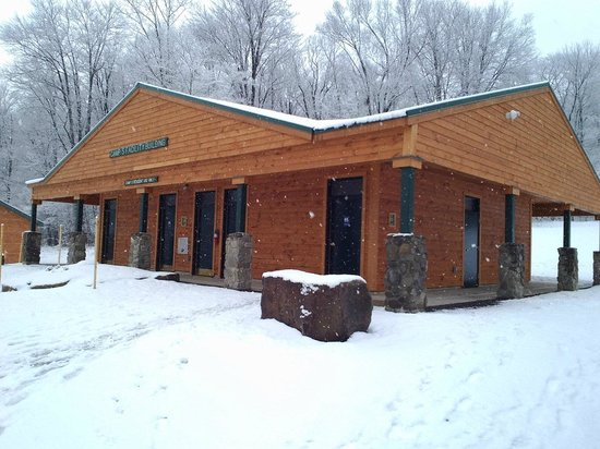 Allegany State Park Campground: new bathhouse with private shower rooms