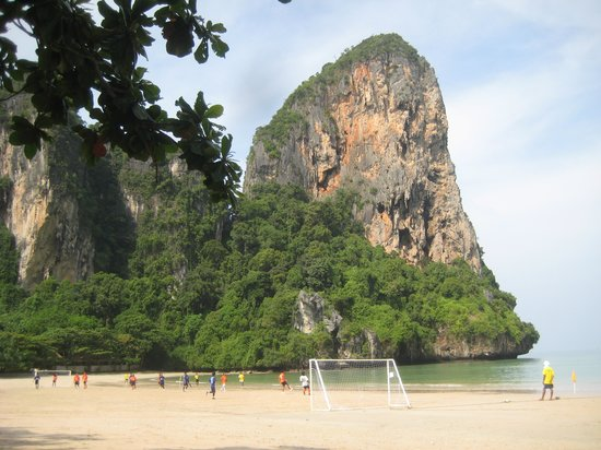 Railay Beach : Resort staff play football competition in low season