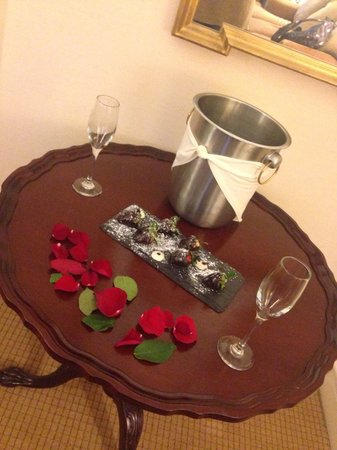 Fitzpatrick Manhattan Hotel: Champagne and Rose Petals on our Honeymoon Arrival!