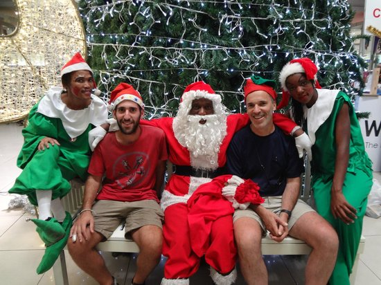 Cardboard Box Hostel : Santa and his friends. You gotta love them.