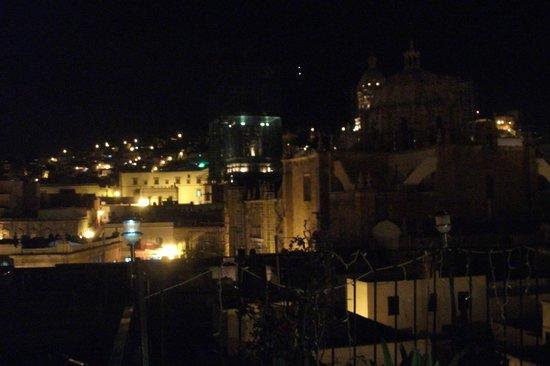 Hostal Villa Colonial de Zacatecas: Terraza, vista de noche.