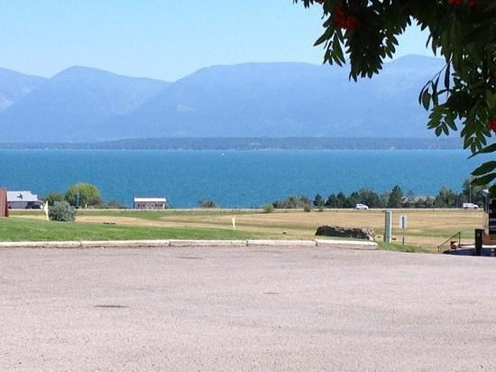 Polson / Flathead Lake KOA: view across the Flathead lake from the KOA