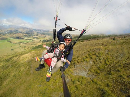 SkyTrek Tandem Hang Gliding & Paragliding: Anyone can fly! Chloe, aged 4, flying like a bird.