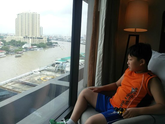 Royal Orchid Sheraton Hotel & Towers: Son to see the view from room