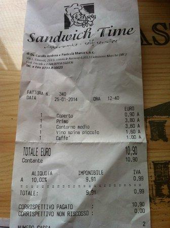 Sandwich Time: scontrino