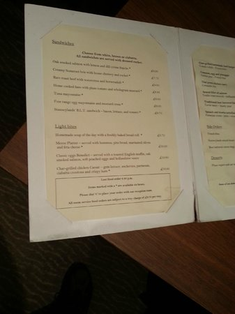 The Stanneylands Hotel: Torn, stained and dog-eared menu (same in restaurant)