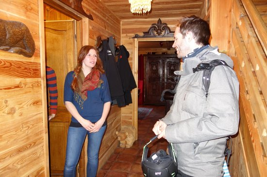 Chalet Le Bullou : Smiley and friendly Etelka and entrance hall in Chalet