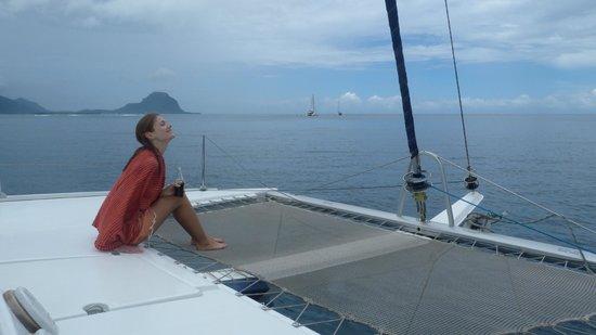 Tamarin Bay : Sur le catamaran
