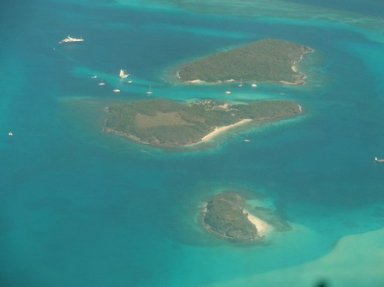 An aerial view of Tobago Cays