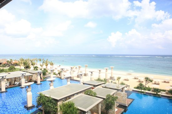 Pool and Beach of The Mulia from Baron Ocean View Room