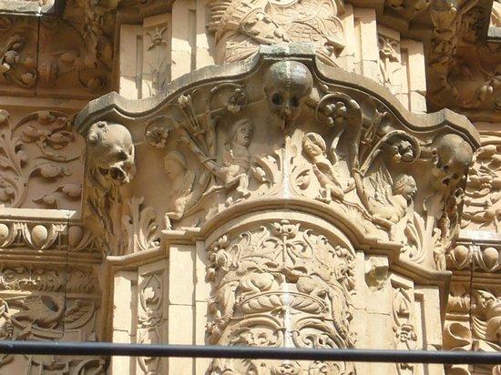 Silken Rona Dalba Hotel: пилястра у университетского входа со знаменитой лягушкой на черепе