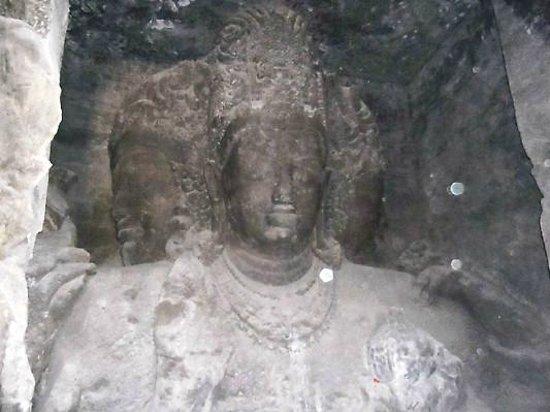 Elephanta Caves : 3 headed god