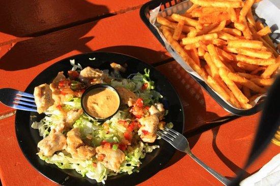 Ocean East Resort Club: Gator & fries from Riptides next door to Ocean East