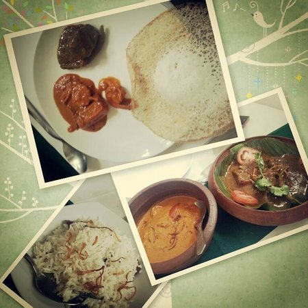 Oceanos Restaurant : Appam, fish curry, prawn curry, coconut rice