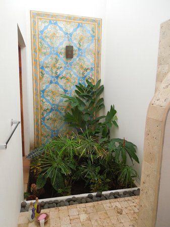 Miss Margrit's Guest House: The shower area in our bathroom--hard to capture in one photo