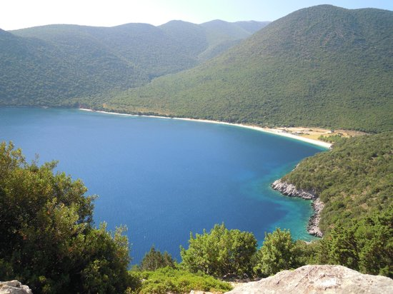 View of Antisamos beach from the road leading to it