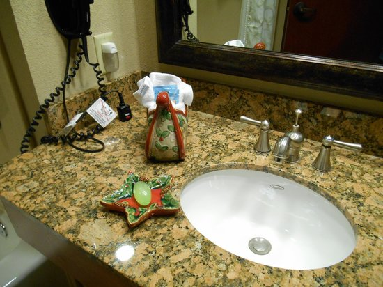 The Inn at Christmas Place: Even our bathroom was decorated for Christmas.