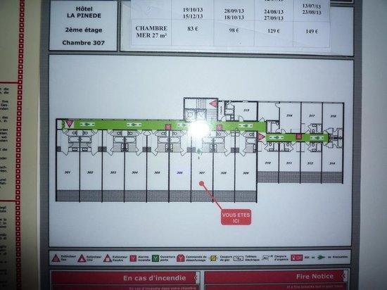 Hotel La Pinede : plan du dernier niveau