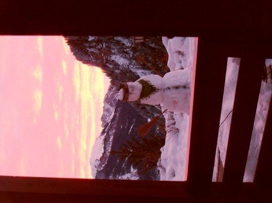 Hotel Uhrerhof-Deur : paesaggio all alba dalla nostra stanza