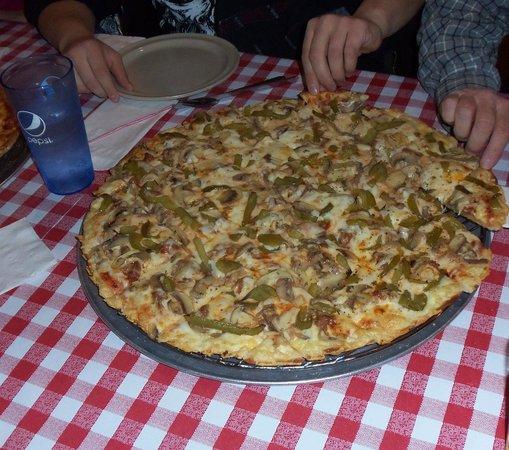 Aurelio's Pizza: Sausage, mushroom, green pepper and onion pizza