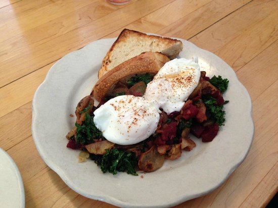 The Mix: The beet and kale hash with poached eggs and sourdough toast