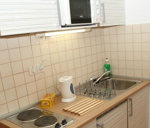 Paprika Apartments In City Center: Fridge, freezer, hotplate, microwave, water boiler are ensured.