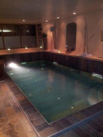 Hôtel Spa Restaurant Mendi Alde : piscine  chaude ou vous avez la place de nager + jakusi! génial!