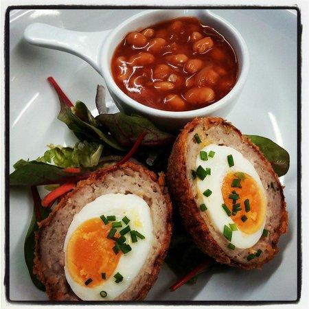 The Groomsport Inn: Homemade scotch egg and bbq beans