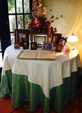 Marcel's Restaurant: Lobby Menu Table (Taken 2-3-14)