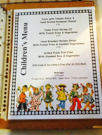 Marcel's Restaurant: Children's Menu (2-3-14)