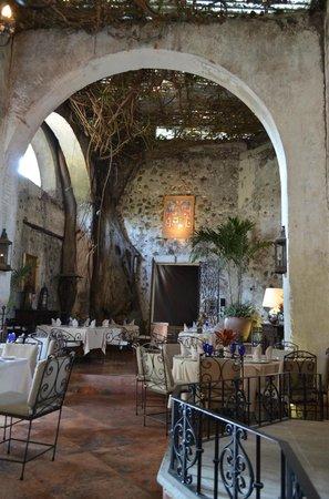 Hotel Hacienda de Cortes : ceiling of vines creates a dreamy dining experience